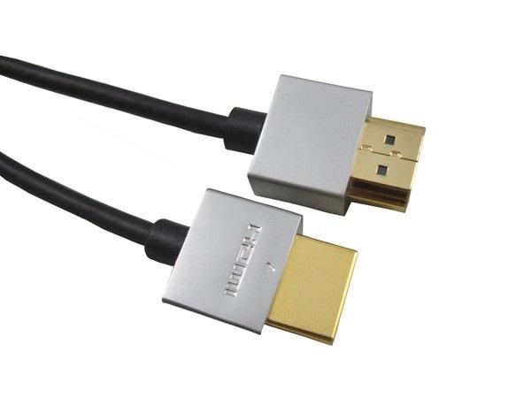 PremiumCord Slim HDMI High Speed + Ethernet kabel, zlacené konektory, 2m