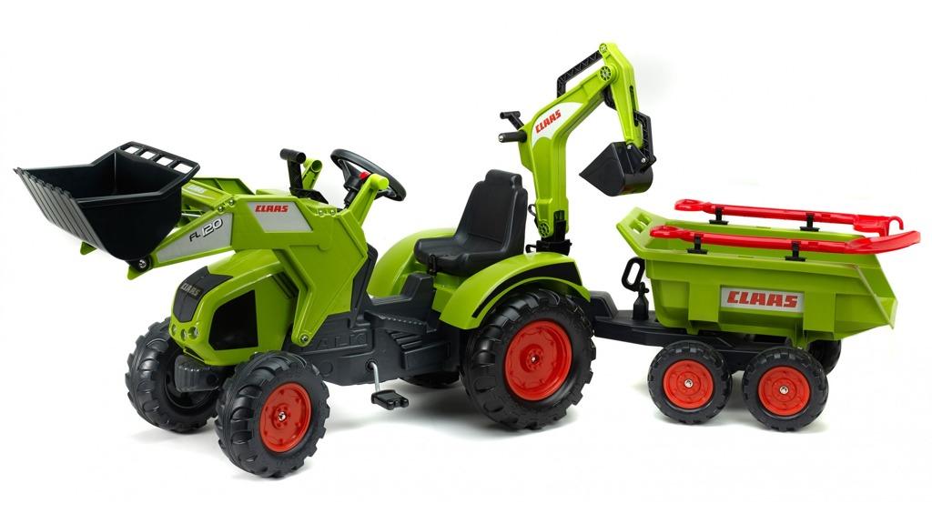 Traktor Claas Axos 330 zelený s přední i zadní lížící a přív