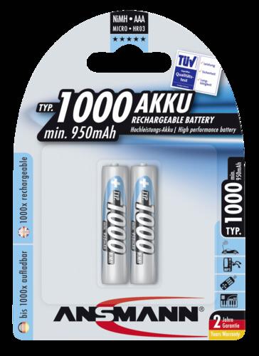 1x2 Ansmann NiMH Aku 1000 Micro AAA 950 mAh