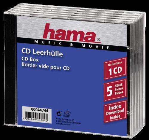 1x5 Hama CD-Box Jewel-Case 44744
