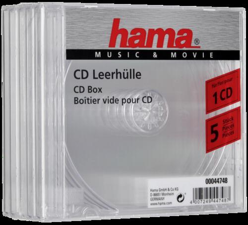 1x5 Hama CD-Box transparentni Jewel-Case 44748