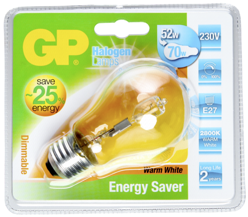 GP Lighting Classic Halogen. A55 52W/230V E-27 tepla bila 840 lm