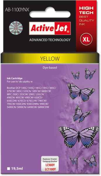 Inkoust ActiveJet AB-1100YNX | Yellow | 19,5 ml | Brother LC1100Y,LC980Y