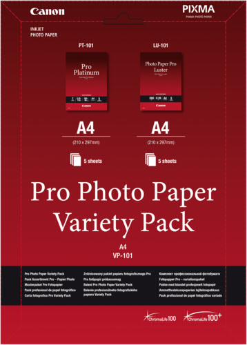 Canon VP-101 Pro Photo Paper Variety Pack A 4 2x5 Sheets