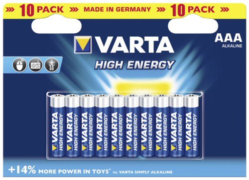 1x10 Varta High Energy Micro AAA LR 03