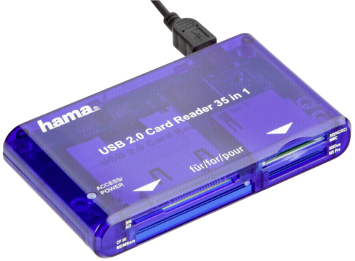 Čtečka karet Sandisk (Hama) 35v1, USB 2.0, modrá