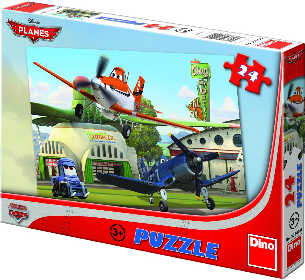 Puzzle 24 dílků Letadla: U hangáru