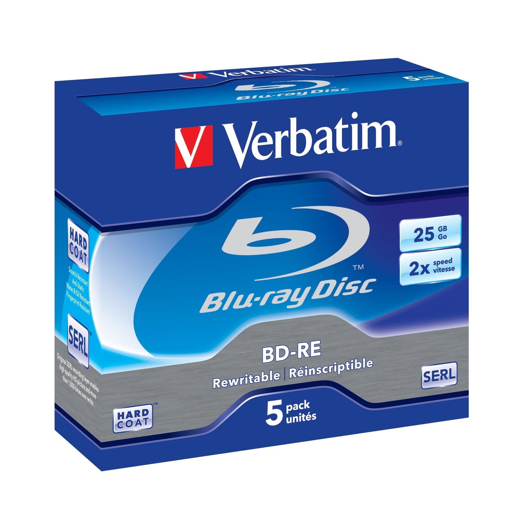 Verbatim Blu-ray BD-RE [ Jewel Case 5 | 25GB | 2x | WHITE BLUE SURFACE HARD COAT