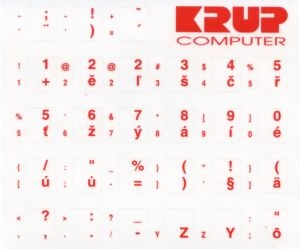 Premium přelepky pro klávesnice s cizím layoutem - červené písmo, průhledné pozadí