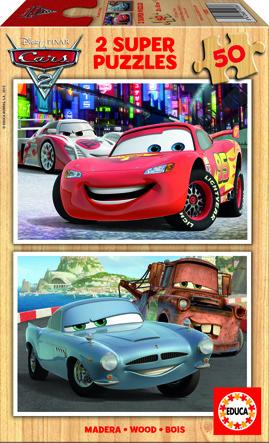 Puzzle Cars 2 dřevěné 2 v1 50 dílků.