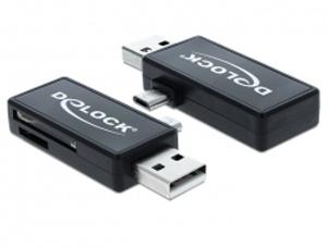 Delock Micro USB OTG čtečka karet + USB A samec