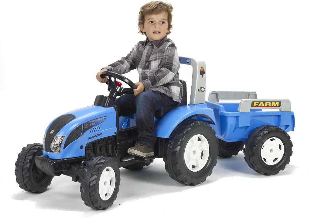 Traktor Landini šlapací s valníkem modrý