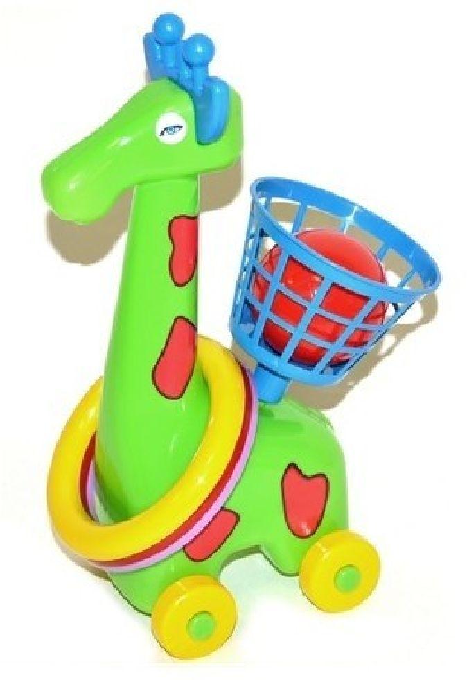 Žirafka na kolečkách s kroužky
