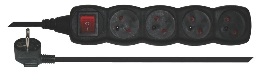 Emos prodlužovací šňůra P1415 - 4 zásuvky, 5m, s vypínačem, černá