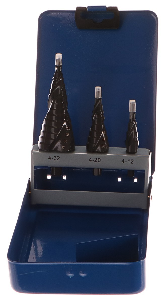 Vrtáky stupňovité, 3ks, Ř4-12/1mm, Ř4-20/2mm, Ř4-32/2mm, s lamačem třísek, EXTOL CRAFT