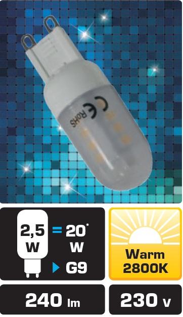 LED žárovka TB Energy G9, 230V, 2,5W,Teplá bílá