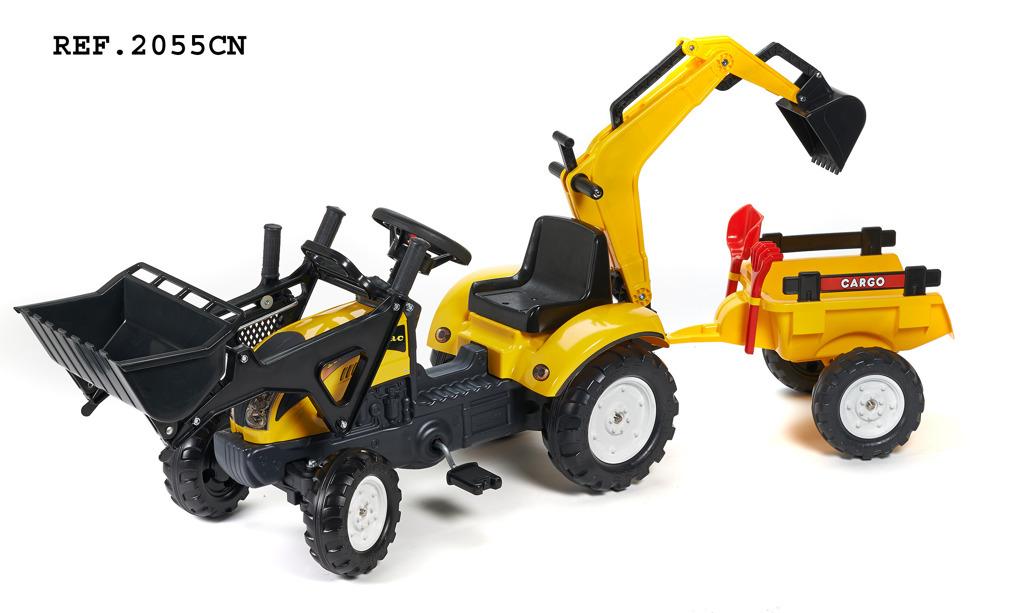 Traktor Ranch Track žlutý s přední i zadní lžící a valníkem