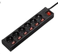 Hama Prodlužovací přívod s přepěťovou ochranou, 6 zásuvek schuko, 6+1 vypínačů, 1,4 m