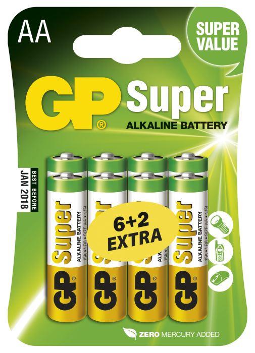 GP AA Super alkalická - 8 ks (6 + 2)
