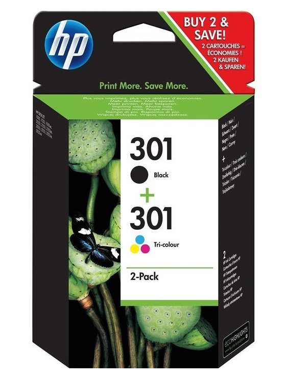 HP 301 Ink Cartridge Combo 2-Pack, (náhrada za J3M81AE), N9J72AE