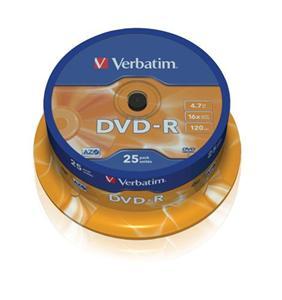 Disk DVD-R Verbatim 4,7GB 16x 25-cake