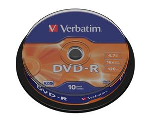 Disk DVD-R Verbatim 4,7GB 16x 10-cake