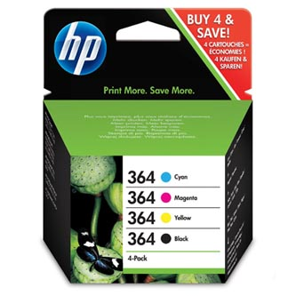HP 364 CMYK Ink Cartridge Combo 4-Pack, (náhrada za J3M82AE), N9J73AE