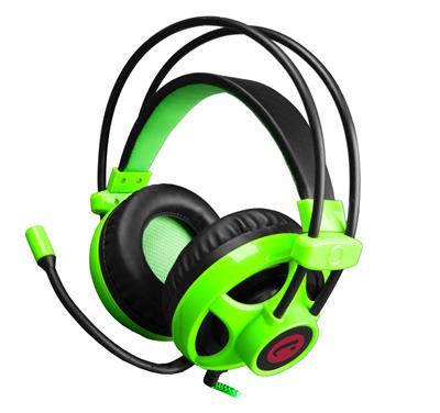 C-TECH Helios Herní sluchátka, černo-zelená