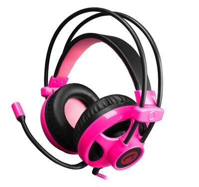 C-TECH herní sluchátka s mikrofonem Helios, černo-růžová