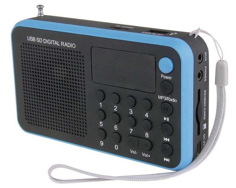 emGo 1505W - rádio, MP3, USB, SD/microSD přehrávač, modrý