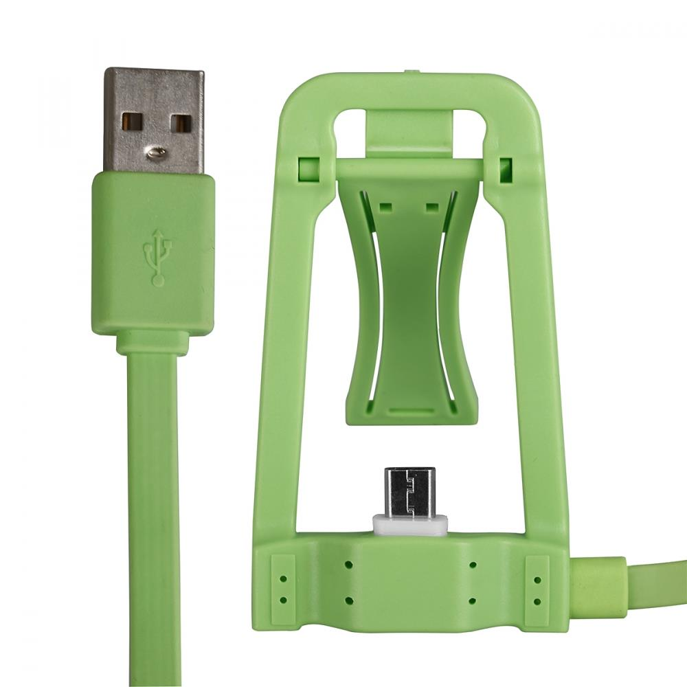 CABLE USB WITH DOCK microUSB green