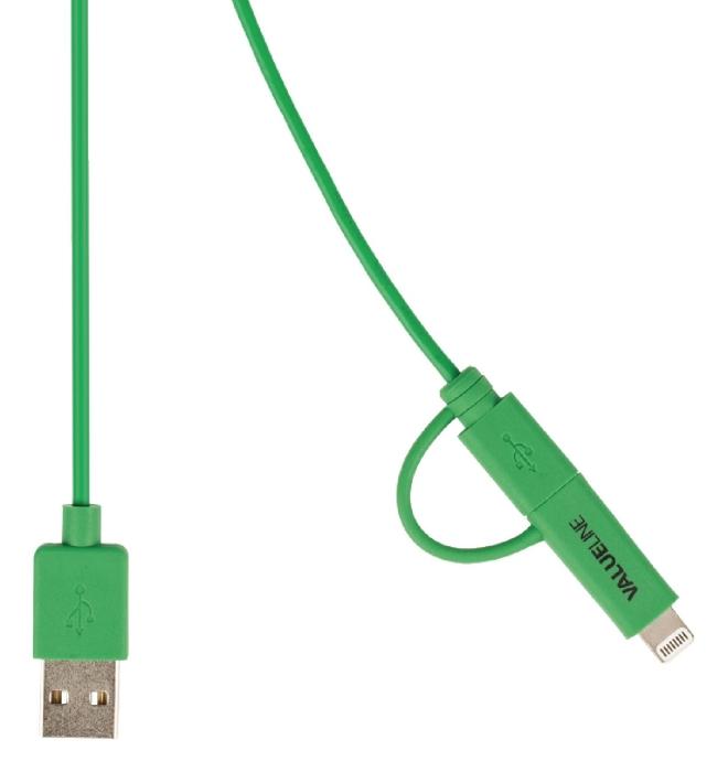 Valueline VLMP39400G1.00 - 2v1 kabel USB / microUSB + Lightning, 1m, zelený