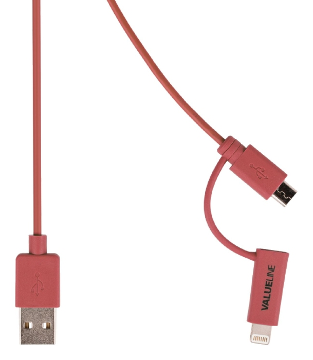 Valueline VLMP39400R1.00 - 2v1 kabel USB / microUSB + Lightning, 1m, červený