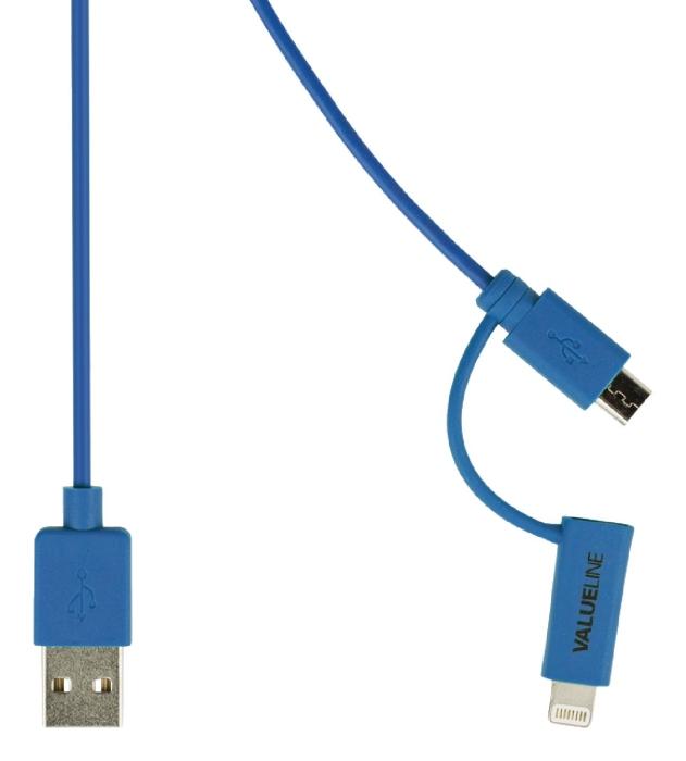 Valueline VLMP39400L1.00 - 2v1 kabel USB / microUSB + Lightning, 1m, modrý