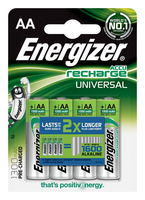 Dobíjecí baterie, ENERGIZER Universal, AA, HR6, 1.2V, 1300mAh, 4 ks