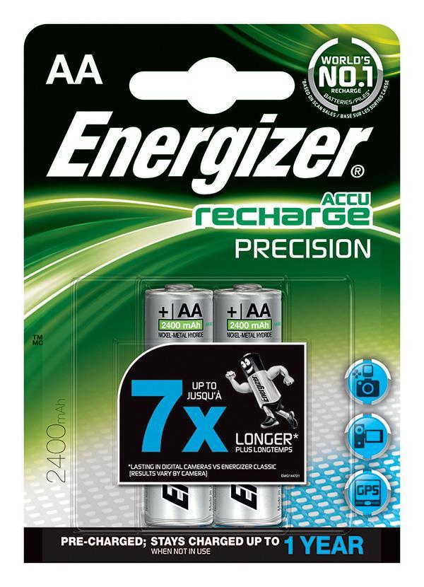 Dobíjecí baterie, ENERGIZER Precision, AA, HR6, 1.2V, 2400mAh, 2 ks
