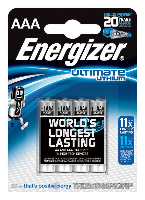 Baterie, ENERGIZER Konečná Lithium, AAA, L92, 1,5, 4 ks