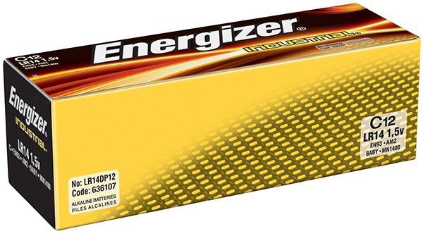 Baterie, ENERGIZER Industrial, C, LR14, 1,5 V, 12 ks