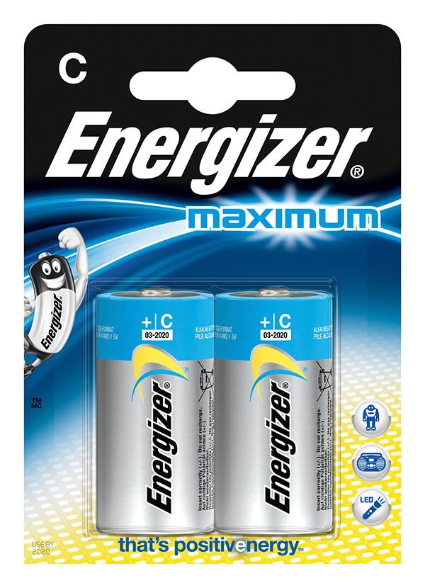 Baterie, ENERGIZER Maximum, C, LR14, 1,5 V, 2 ks