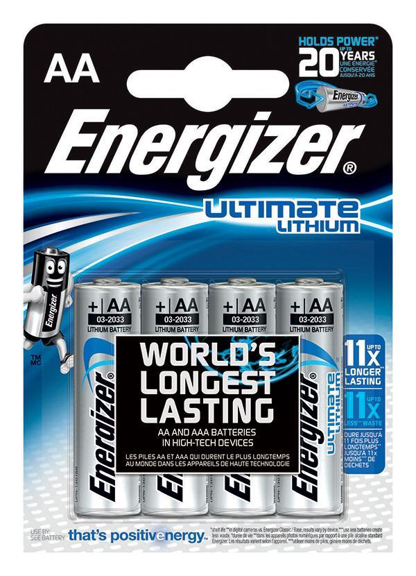 Baterie, ENERGIZER Konečný lithiové, AA, L91, 1,5, 4 ks