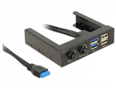 "Delock 3.5"" Front Panel > 2 x USB 3.0 + 2 x USB 2.0 and fan control"