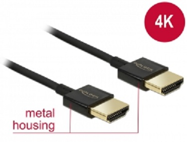 Delock Kabel High Speed HDMI s Ethernetem - HDMI-A samec > HDMI-A samec 3D 4K 0,5 m Slim Premium