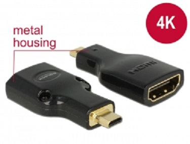 Delock adapter HDMI Micro-D(M)->HDMI(F) High Speed HDMI with Ethernet 4k