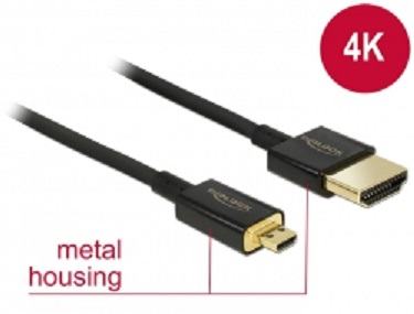 Delock Kabel High Speed HDMI s Ethernetem - HDMI-A samec > HDMI Micro-D samec 3D 4K 2 m Slim Premium