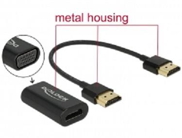 Delock Adaptér HDMI-A samec > VGA samice kovové pouzdro s 15 cm kabelem