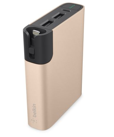 Belkin MIXIT™ Power RockStar™ 6600, 2xUSB + 1x Lightning & 1 Micro-USB kabel - zlatý