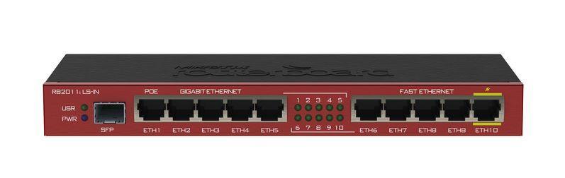 Mikrotik RB2011iLS-IN L4 64MB RAM, 5xLAN, 5xGig LAN, 1xSFP, Desktop, 1xPoE Out