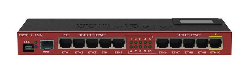Mikrotik RB2011UiAS-IN L5 128MB RAM, 5xLAN, 5xGig LAN, 1xSFP, LCD, 1xPoE Out