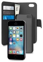 Puro flipové pouzdro s přihrádkou na kartu a zadní kryt pro Apple iPhone SE/5/5s, černá
