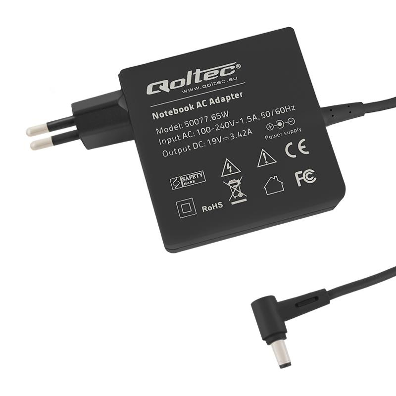 Laptop AC power adapter Qoltec 65W | 3.42A | 19V | 5.5x2.5